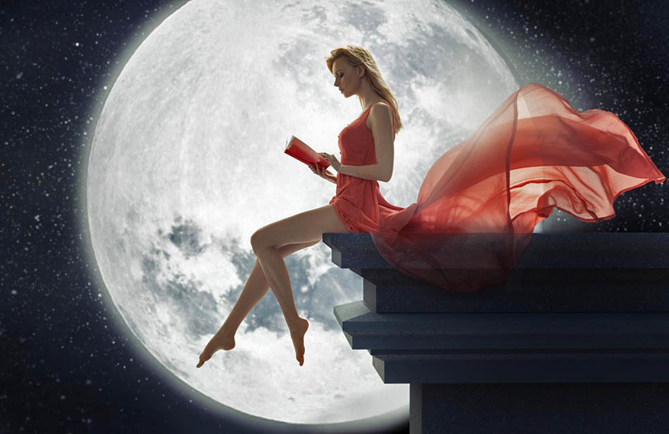 beauty_sit_dress_slender_legs_reading_moonlight_beautiful_mood