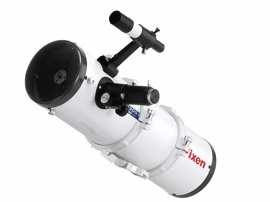 Newton türü bir teleskop. Önde ikincil düzlem ayna, arkada birincil çukur ayna ve ön yan tarafta göz merceği yuvası