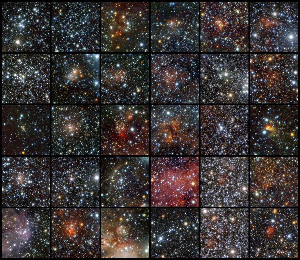Using data from the VISTA infrared survey telescope at ESO's Paranal Observatory, an international team of astronomers has discovered 96 new open clusters hidden by the dust in the Milky Way. Thirty of these clusters are shown in this mosaic. These tiny and faint objects were invisible to previous surveys, but they could not escape the sensitive infrared detectors of the world's largest survey telescope, which can peer through the dust. This is the first time so many faint and small clusters have been found at once. The images are made using infrared light in the following bands: J (shown in blue), H (shown in green), and Ks (shown in red).