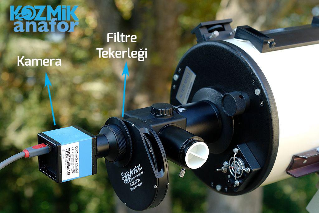 Teleskop ile kamera arasına bağlanan ve filtreden filtreye geçişi sağlayan bir filtre tekerleği