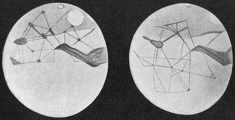 Percival Lowell'in hayali Mars kanalları çizimi.