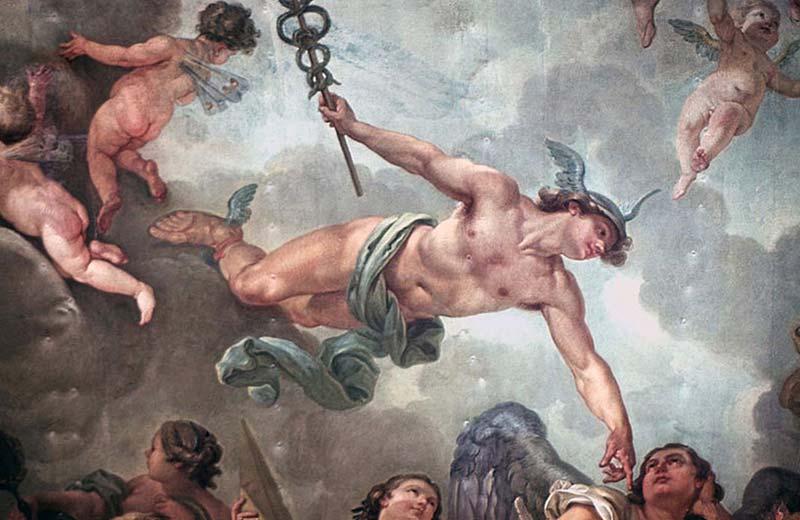 """Roma mitolojisinde Merkür, haberci tanrıdır ve """"hızlı"""" olmasıyla bilinir. Antik Yunan mitolojisinde ise Merkür'ün adı Hermes olarak geçer."""