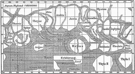 Schiaparelli'nin çizdiği ilk Mars haritası.