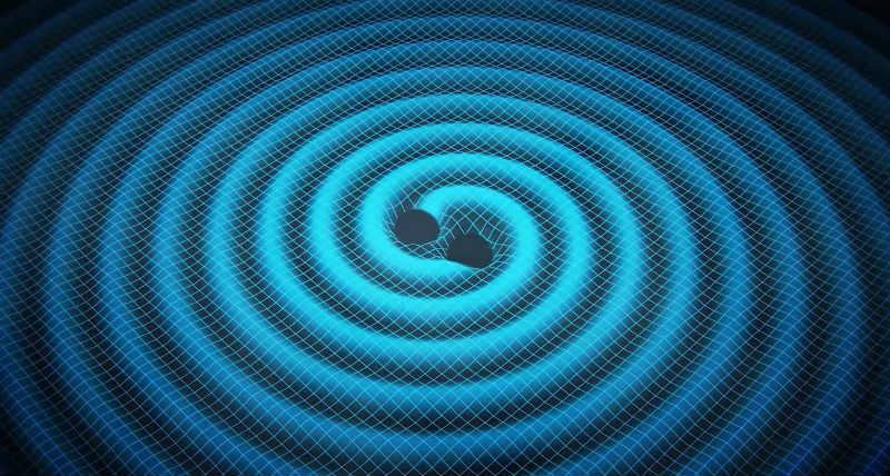 Birleşmekte olan iki karadeliğin uzay-zamanda yarattığı kütleçekim dalgalarının illüstrasyonu.