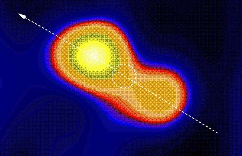 UV Ceti sisteminin, radyo dalgaboyunda alınanan görüntüsü. Bu fotoğrafta, sistemi oluşturan iki yıldız da görülebiliyor. Ancak, sistem birbirine çok yakın olduğu için görünür ışık teleskoplarıyla yıldızları birbirinden ayırmak oldukça güçtür.