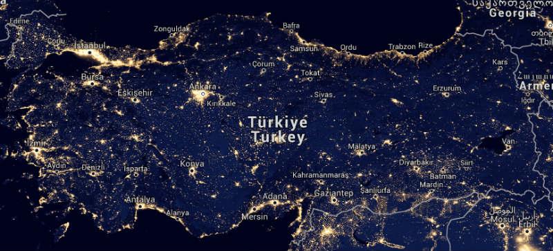 Türkiye'nin ışık kirliliği haritası.