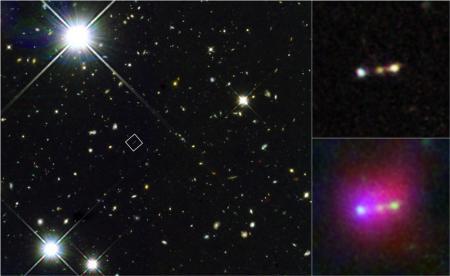Subaru, Hubble ve Spitzer işbirliği ile ortaya çıkarılan fotoğraflar. Solda kare ile işaretlenmiş alan Himiko'nun konumunu gösterirken sağdaki fotoğraflar Himiko Bulutu'nun kızılötesi fotoğraflarını göstermekte.