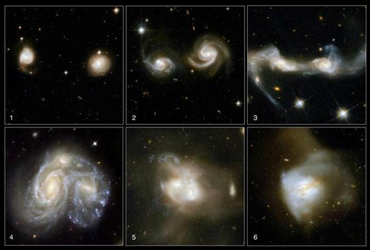 Bir galaksi birleşmesi ve oluşan yeni düzensiz galaksi.