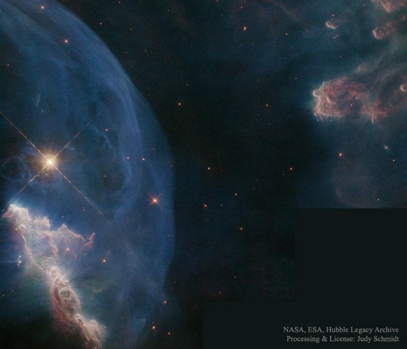 Kabarcık Bulutsusu'nun Hubble tarafından alınmış yakın çekim görüntüsü.