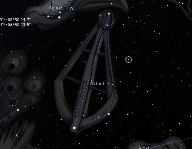 Sekizlik Takımyıldızı ve daire içerisinde Sigma Octantis yıldızı... (Fotoğraf: Stellarium)