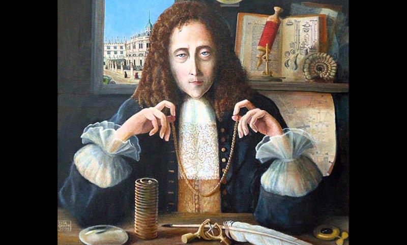 Robert Hook'un bir portresi. Aslında, Hook'un yaşadığı dönemde yapılmış bir portresi yoktur. Ancak, ölümünden sonra temsili olarak portreleri yapılmıştır.